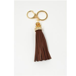 Key golden metal door set with Rhinestones leather look tassel bag Jewelry 71315