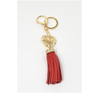 Gold metal door keys set with Rhinestones Bag Jewelry Heart Watermark tassel leather look 71325