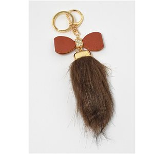 Gold metal door keys set with Rhinestones Bag Jewelry tassel fur 71309