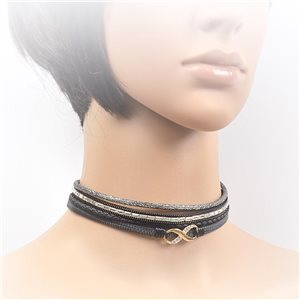 Necklace leather and rhinestone choker new collection 2017 2017 L32-40cm 71706