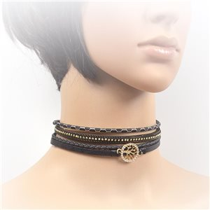Necklace leather and rhinestone choker new collection 2017 2017 L32-40cm 71736