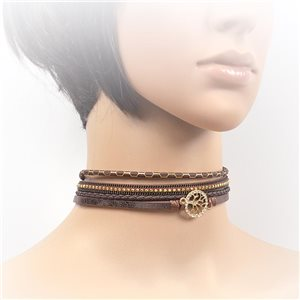 Necklace leather and rhinestone choker new collection 2017 2017 L32-40cm 71740