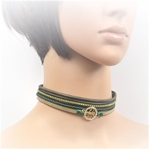 Necklace leather and rhinestone choker new collection 2017 2017 L32-40cm 71743