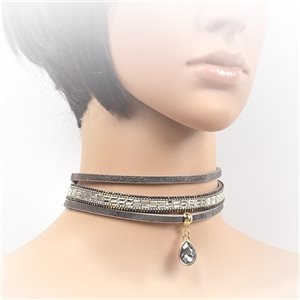 Necklace leather and rhinestone choker new collection 2017 2017 L32-40cm 71714