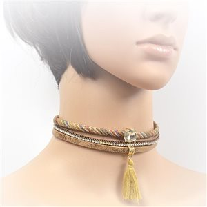Necklace leather and rhinestone choker new collection 2017 2017 L32-40cm 71731