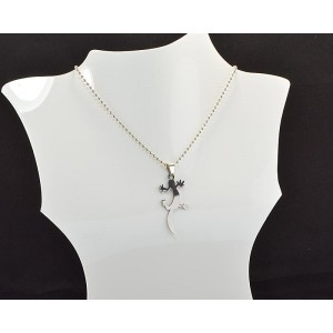 Necklace Pendant Brushed steel Shiny 61099