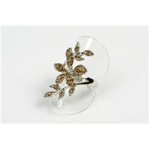 Adjustable ring Full Strass on metal silver color New Collection 72611