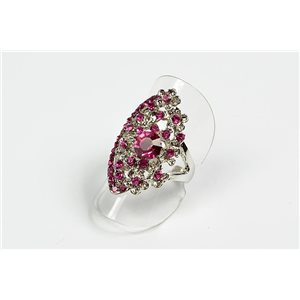 Adjustable ring Full Strass on metal silver color New Collection 72715