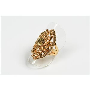 Adjustable ring Full Strass on metal gold color New Collection 72726