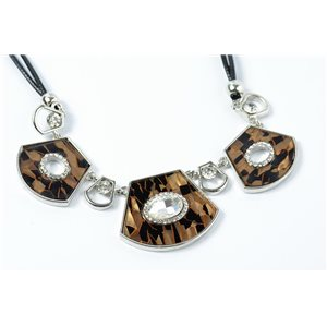 Necklace in cloisonne email set with rhinestones l43-49cm collection cybele fashion chic 73230