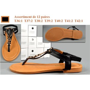 12p Flat Sandals with Elastic Flange 7 Sizes BLACK La Tropézienne to 5.80e piece 73395