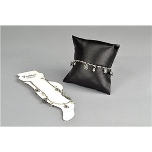 1 Bracelet for ankle metal color silver Charms & Strass 21-26cm 73482