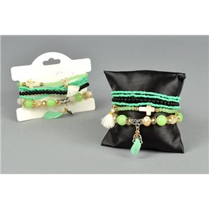 Bracelet CYBELE Cuffs 6 rows Collection Bead Charms and Jewels on elastic thread 73528