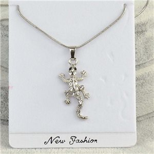 Necklace pendant IRIS rhinestone strass chain snake L40-45cm Collection 2018 75153