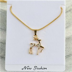 Necklace pendant IRIS rhinestone gold chain snake mesh L40-45cm Collection 2018 75173
