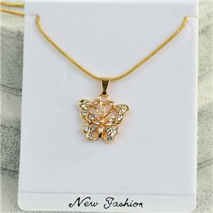Necklace Pendant IRIS rhinestone gold chain snake mesh L40-45cm Collection 2018 75179