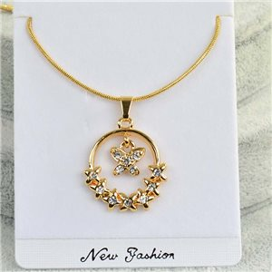 Necklace Pendant IRIS rhinestone gold chain snake mesh L40-45cm Collection 2018 75180