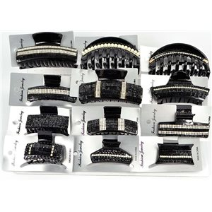 Lot of 12 New Collection Black & Rhinestone Hair Clips 3 Sizes 75236