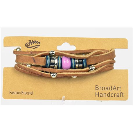 New Collection Bracelet Multirang croute de Cuir L19-L21cm bouton pression 75290