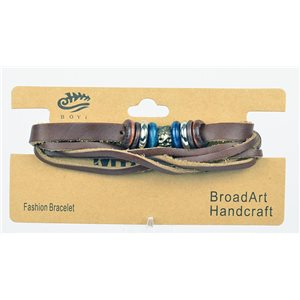 New Collection Multilangular Leather Crust Bracelet L19-L21cm Snap Button 75292