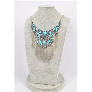 Collier ATHENA métal argenté ciselé sertie de Strass New Collection Ethnique 75442