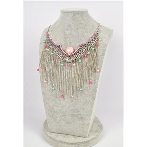 Collier ATHENA métal argenté ciselé sertie de Strass New Collection Ethnique 75447