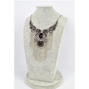 Collier ATHENA métal argenté ciselé sertie de Strass New Collection Ethnique 75453