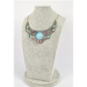 ATHENA silver metal necklace chiseled set with Strass New Ethnic Collection 75460