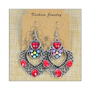 1p Earrings ATHENA silver plated metal set with Rhinestones New Ethnic Collection 75477
