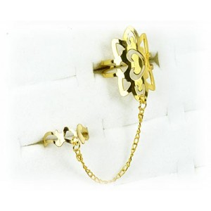 Double gold metal ring 60961 adjustable Phalanges