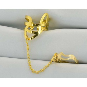 12 Double Rings Adjustable gold metal Phalanges 60978