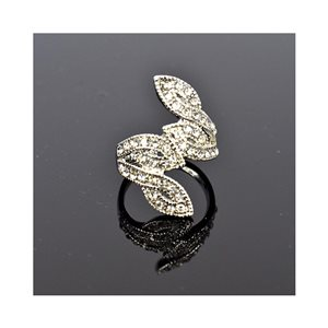 New Collection Adjustable Metal Ring Set with Silver Color Rhinestones 75654