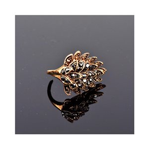 New Collection Adjustable Metal Ring Set with Rose Gold Color Rhinestones 75660