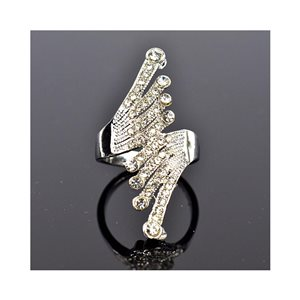 New Collection Adjustable metal ring set with rhinestone color Silver 75662