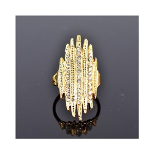 New Collection Adjustable metal ring set with golden color rhinestone 75667