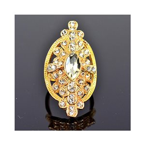 New Collection Adjustable metal ring set with golden color rhinestone 75675