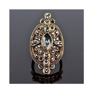 New Collection Adjustable Metal Ring Set with Rose Gold Color Rhinestones 75676