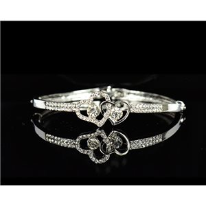 Bracelet métal couleur Argenté Collection Chic sertie de Strass D55mm L18cm fermoir a clip 75545