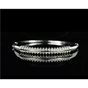 Silver metal bracelet Collection Chic set with Rhinestones D55mm L18cm clip clasp 75521