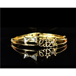 Gold colored metal bracelet Chic Collection set with rhinestones D55mm L18cm clip clasp 75542