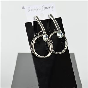 1p Earring Drop Earrings 5cm Metal Silver Color New Graphika Style 75754