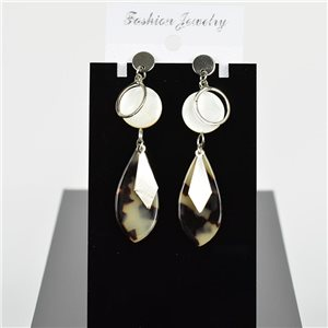 1p Earring Drop Earrings 7cm Metal Silver Color New Graphika Style 75707