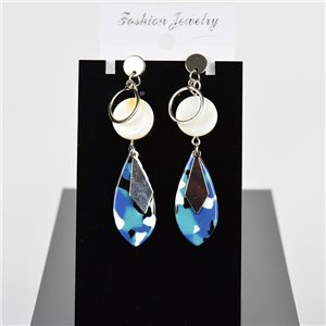 1p Earring Drop Earrings 7cm Metal Silver Color New Graphika Style 75709