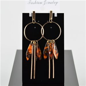 1p Earring Drop Earrings 9cm Metal Gold Color New Graphika Style 75712
