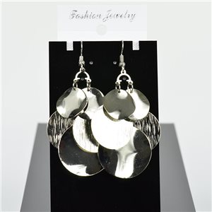 1p earrings hanging hook 7cm metal color Silver New Graphika Style 75725