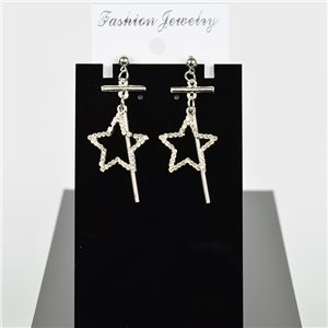 1p Earring Drop Earrings 5cm Metal Silver Color New Graphika Style 75693