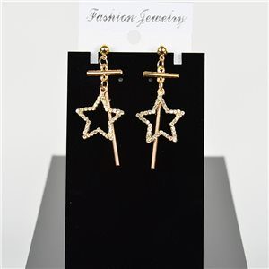 1p Earring Drop Earrings 5cm Metal Gold Color New Graphika Style 75694