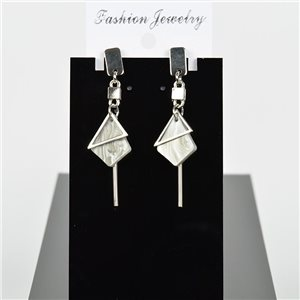 1p Earring Drop Earrings 6cm Metal Silver Color New Graphika Style 75701