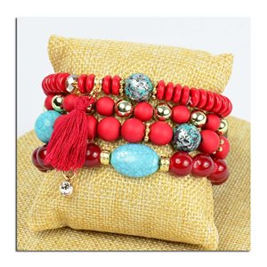 Bracelet CYBELE Manchette 4 rangs Collection Bead Charms et Bijoux sur fil élastic New Collection 75771