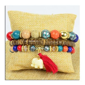 Bracelet CYBELE Manchette 3 rangs Collection Bead Charms et Bijoux sur fil élastic New Collection 75777